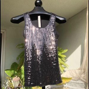 Questions by Say What, black bling tank, Sz Large